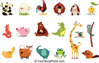 Colorful flat vector set of funny of various animals. Panda, sheep, ram, frog, duckling, rooster, fox, pig, bear, crocodile, giraffe, cat, cow, elephant, frog, beaver, raccoon, parrot