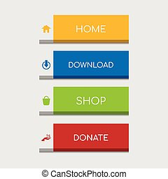 Colorful flat web design button