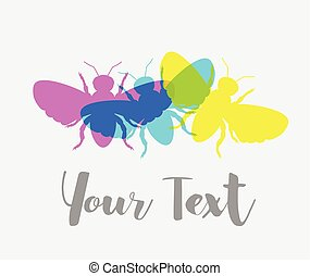 Colorful Flies Vector Background