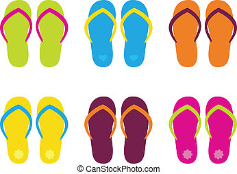Colorful flip flop collection isolated on white