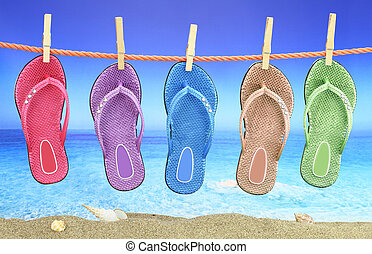 Colorful Flip-Flop with seascape on the background