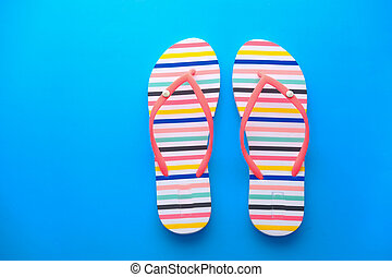 colorful flip flops isolated on white background. Top view