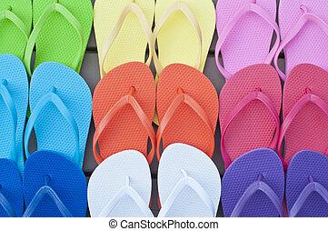 Colorful Flipflops Close Up