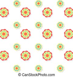 Colorful fllower icon seamless pattern on white background, Vector illustration