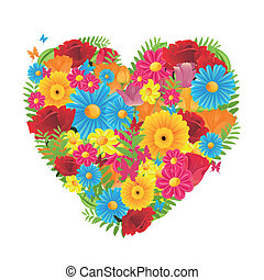 Colorful Flora Vector Heart