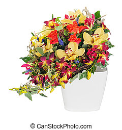 colorful floral bouquet of roses, cloves and orchids arrangement centerpiece in vase isolated on white background
