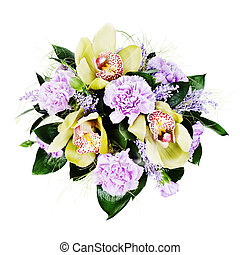 colorful floral bouquet of roses,cloves and orchids isolated