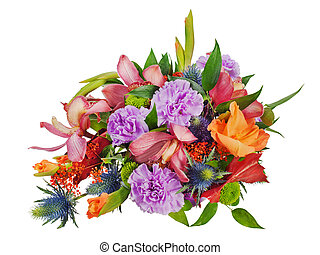 colorful floral bouquet of roses,cloves and orchids isolated on white background