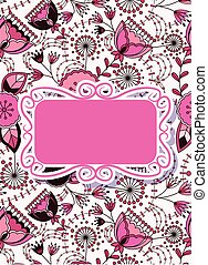 Colorful floral card with banner
