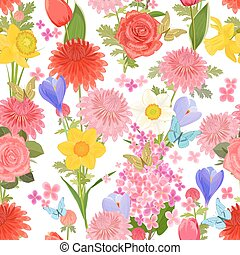 colorful floral design on white background. seamless texture