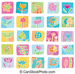 Colorful Floral icons.