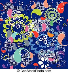 Colorful floral paisley seamless pattern. Bright vector ornament