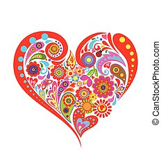 Colorful floral print with heart shape