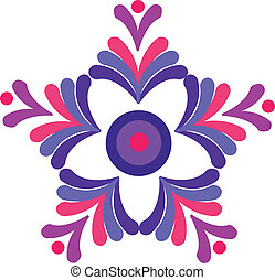 colorful floral retro desigh vector