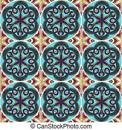 patchwork pattern with mandala in boho chic style