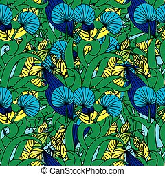 Floral seamless pattern background with leaves.
