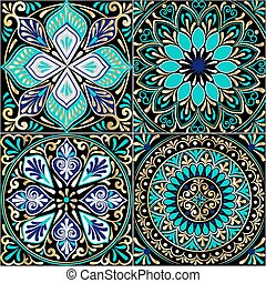 Colorful floral seamless pattern from squares with mandala...