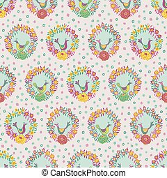 Colorful floral wreaths with birds folk seamless vector pattern background