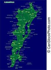 Colorful Florianopolis Island map, Brazil.
