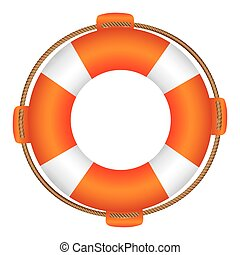 colorful flotation hoop with rope vector illustration