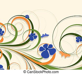 Colorful Flourish Background - Abstract Decorative Swirl...