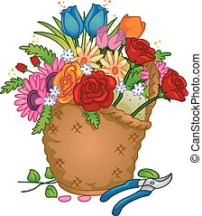 Colorful Flower Arrangement Basket - Colorful Illustration...