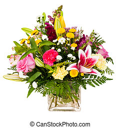 Colorful flower arrangement isolated on white