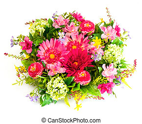 colorful flower arrangement on white