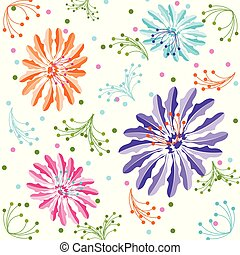 Colorful Flower Background, Seamless Floral Pattern In Vector.