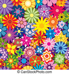 Colorful Flower Background - Colorful Seamless Repeating...