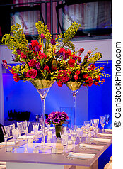 Colorful flower bouquet and table