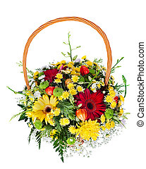 colorful flower bouquet arrangement centerpiece in a wicker gift basket isolated on white background.