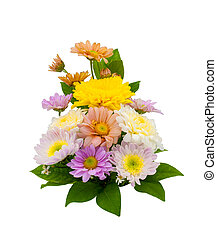 Colorful flower bouquet arrangement in vase isolated