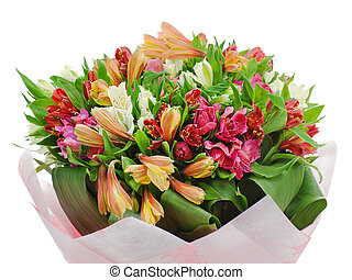 colorful flower bouquet arrangement centerpiece isolated on white background