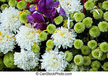 Colorful flower bouquet close up.