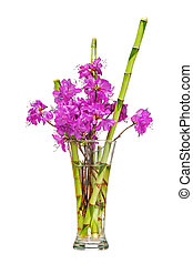 Colorful flower bouquet from purple rhododendron flowers.