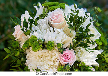 bouquet pink, white roses and chrysanthemums