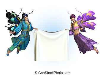 Flower Fairies with Blank Banner