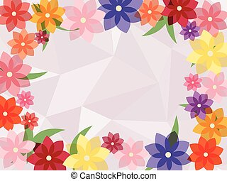 colorful flower frame with abstract  background
