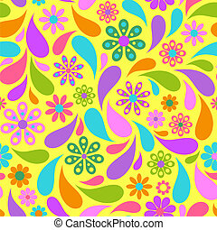 colorful flower on yellow background.