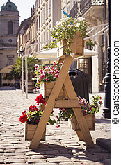 Colorful flower stand in the city