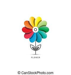 Colorful Flower Symbol Isolated on White Background