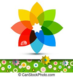 Colorful Flower Symbol with Flowers on Garden. Vector Illustration.