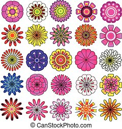 colorful flower vector set - colorful flowers vector set, ...