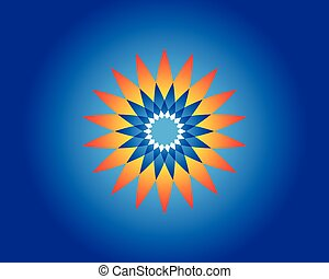 colorful flower with blue background. vector illustration