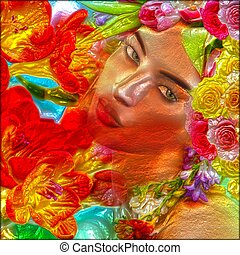 Colorful flowers and abstract face.