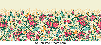 Colorful flowers and leaves horizontal seamless pattern border