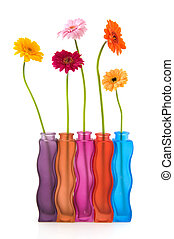 Colorful flowers and vases