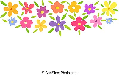 Colorful flowers border background.
