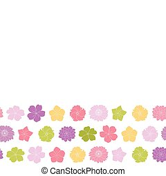 colorful flowers border seamless pattern white background